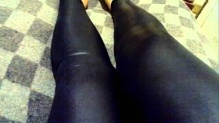 Black Leggings Calzas Negras De Vinilo Engomadas