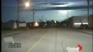 Police Dash Cam Of Meteor Over Edmonton, Canada