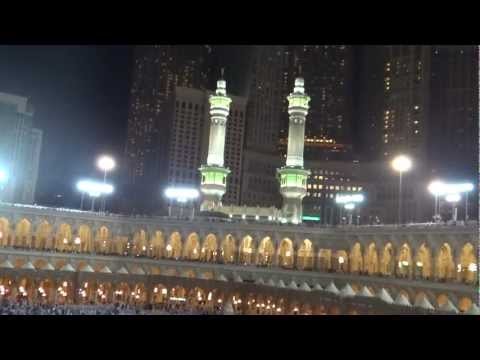 Makkah Isha Azaan and moon in Khana Kaba 24 March 2013 Saudi Arabia