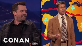 How Jim Jefferies Got Brad Pitt To Be His Weatherman  - CONAN on TBS