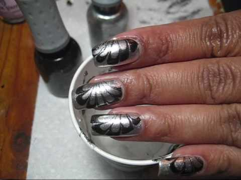 Black & Silver Water Marble Nail Art Tutorial - YouTube, More pics in this blog post: http://mysimplelittlepleasures.blogspot.com/2010/04/notd-black-silver-water-marble.html Nail polish used: Orly Shine Orly Goth T...