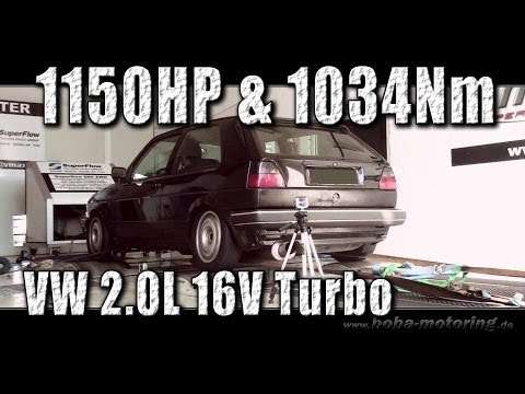 VW Golf Mk2 AWD 1150HP VW 4cylinder record Dyno run Boba-Motoring