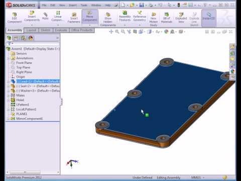 SolidWorks 2012 Video Tutorials - Assembly Environment - The Fix / Float tool