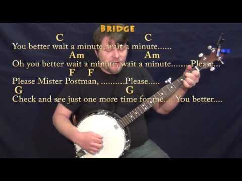 Please Mr. Postman (The Marvelettes) Banjo Cover Lesson in C with Chords/Lyrics