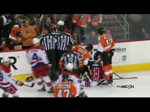 Brawl in 1st. Simmonds, Schenn, Erskine,  Washington Capitals vs Philadelphia Flyers  3/5/14