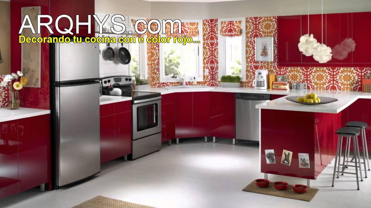 Cocinas de color rojo youtube - Cocinas de color rojo ...