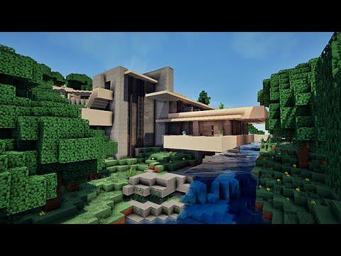 Maison moderne sur une cascade, Falling water sur minecraft !