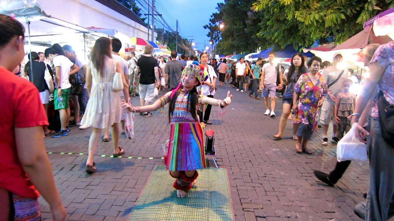 Hill Tribe Girl Traditional Dancing at Chiang Mai Sunday ...