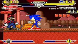 Goku And SSJ Goku Vs Super Mario And Sonic The Hedgehog