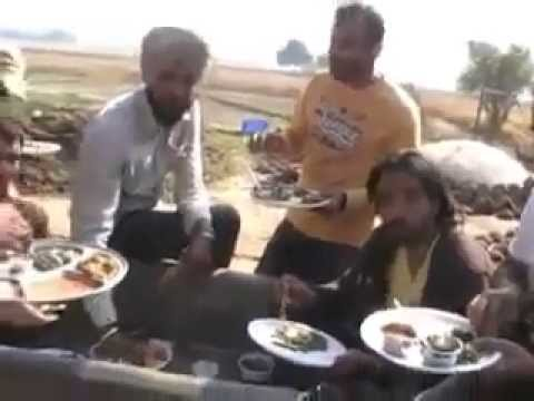 babbu maan  eating food with friends in desi style by rinku mansoorpuria