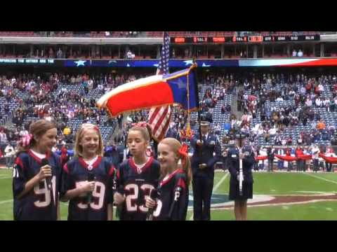 The cactus cuties sing national anthem at nfl houston for Pictures plus houston