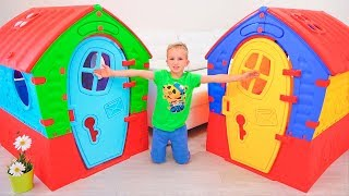 Vlad and Nikita build Playhouses for children