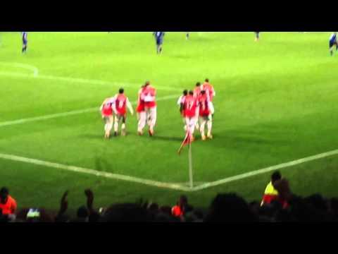 Theo Walcott Goal Celebration Arsenal 2-0 Cardiff