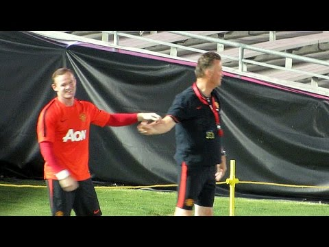 Wayne Rooney Great Kick & Hugged by Louis van Gaal 7-22-14 at Manchester United Workout