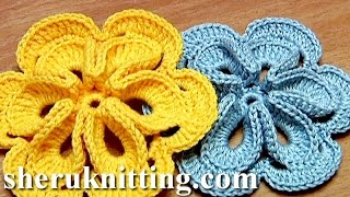 Crochet Flower With Six Petals And 3D Center How To