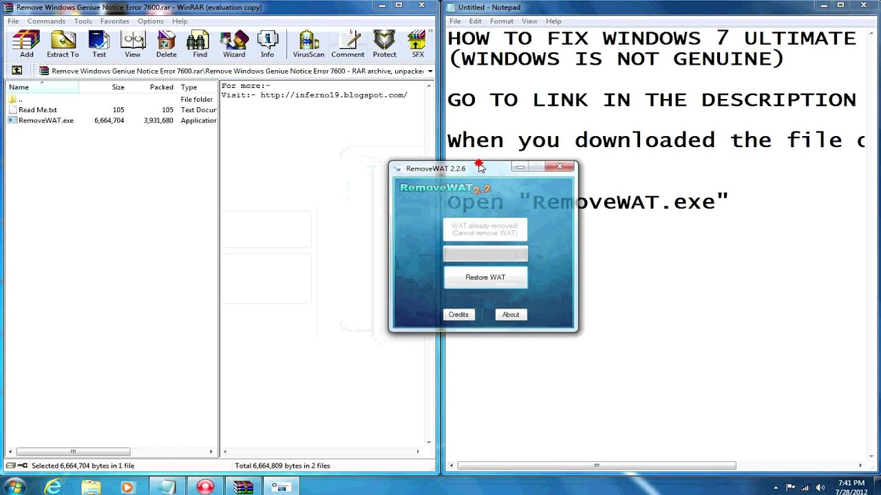 How to Fix Windows 7 Not Genuine Build 7600  YouTube