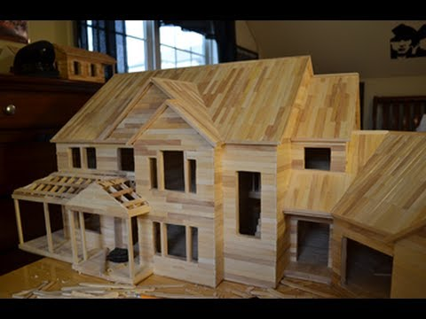 Building popsicle mansion time lapse hd youtube for Ideas for building with popsicle sticks