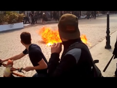 Violent Clashes In Center Of Odessa Just Started In Ukraine, May 2 2014