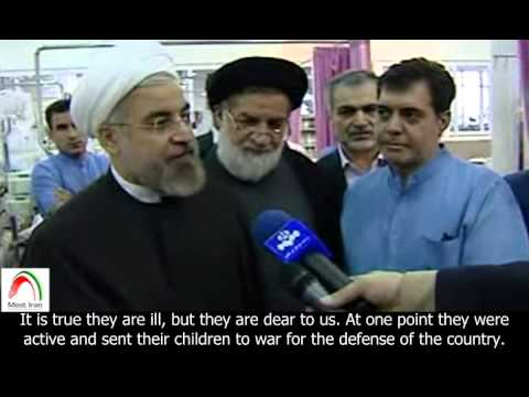 Iran's President, Hassan Rouhani, visits Special Care unit in Khatam Ol Anbia Hospital. English sub.