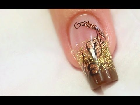 Autumn Copper Foil Nail Art Design Tutorial Video by Naio Nails