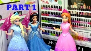 Frozen Elsa And Anna Go To MiWorld OPI Nail Salon PART 1