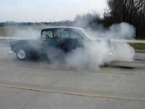1955 Chevy show car runs 11.0's burnout and takeoff