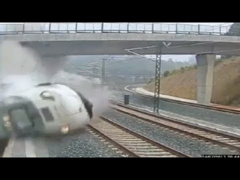 Spain train crash on CCTV - horrible footage of impact in Santiago de Compostela - Truthloader