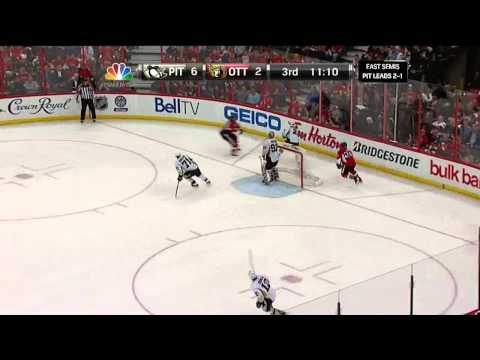 Sidney Crosby backhand goal 6-2 May 22 2013 Pittsburgh Penguins vs Ottawa Senators NHL Hockey