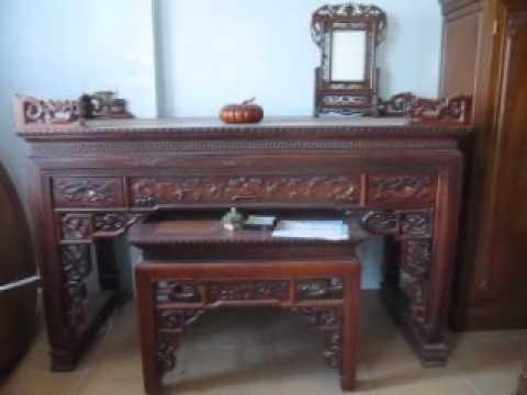 2013 , Cặp bàn thờ Như ý  gỗ hương, tủ 3 buồng gỗ gụ, đồ gỗ Đức Hiền