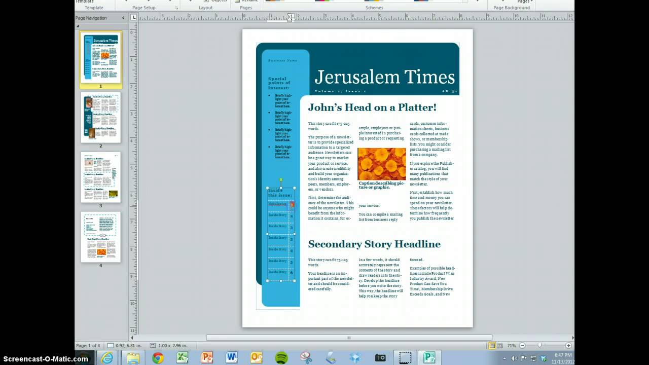 Setting Up Microsoft Word To Make A News Letter