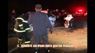 Acidente entre dois carros deixa quatro mortos na BR-458 em Ipaba
