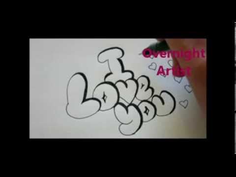 How to write i love you cool bubble graffiti letters youtube for Pretty ways to draw letters