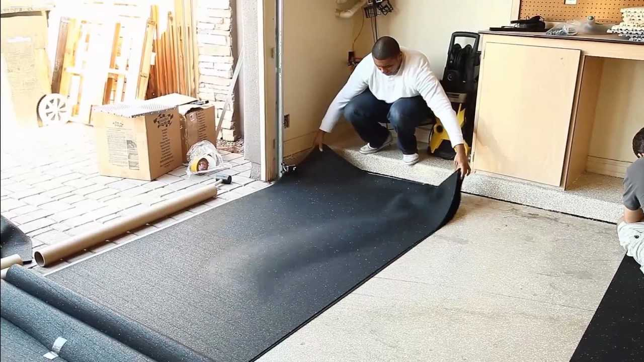 Garage flooring inc installs rubber underlayment youtube