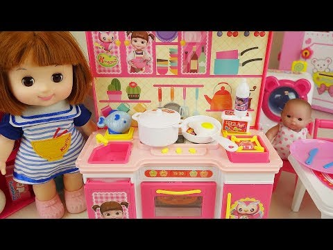 Baby doll kitchen and refrigerator cooking food toys play