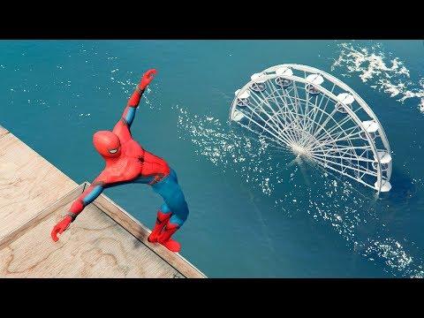 GTA 5 Crazy Spiderman Water Falls & Ragdoll Jumps - Ep.12 [Funny Moments Euphoria Physics]