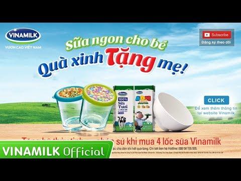 Clip Quảng Cáo Sữa Vinamilk - Sữa ngon cho bé, quà xinh tặng mẹ - Tặng chén sứ, hũ thủy tinh đa năng