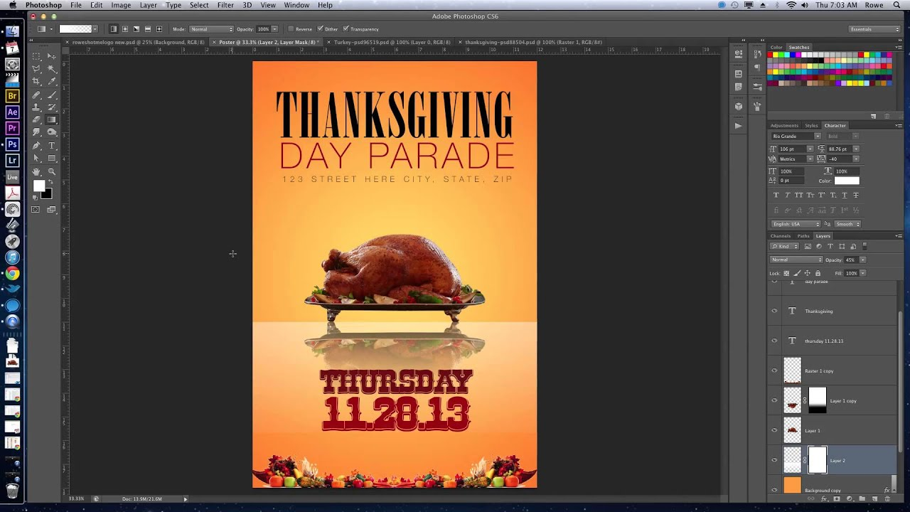 How to Create a Thanksgiving Themed Flyer/Poster in Adobe Photoshop CS6 - YouTube