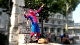 [Spider-Man Dancing for Money wearing Speaker on Crotch!] Video