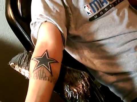 Tattoo of dallas cowboys star youtube for Dallas cowboys star tattoo