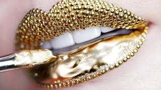 Makeup Tutorial Step by Step Using Gold Pigment & Studs   Lip Art