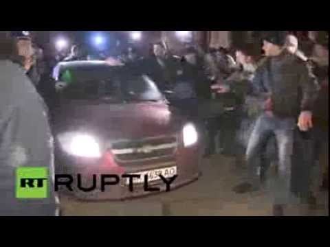BBC Silent - Unelected MP from Kiev jeered and chased by Crimean protesters