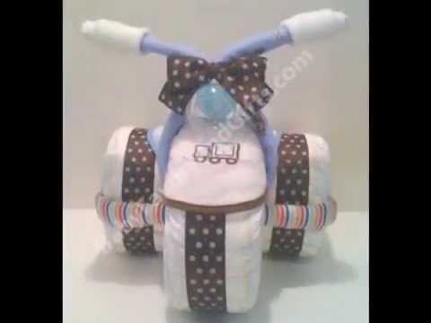Tricycle Diaper Cakes, Three tier diaper cake, Unique baby shower gift ideas