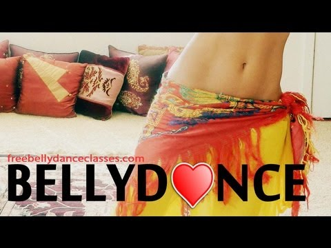 Beginner's bellydance combination: hip drops and back cross jump