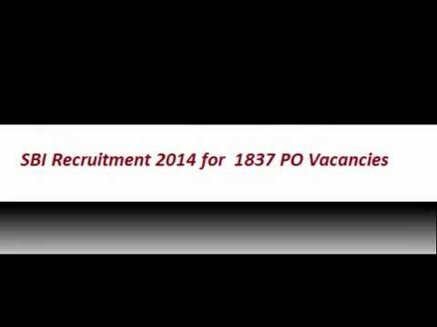 SBI Recruitment 2014 for 1837 PO Vacancies Exam Pattern& Apply Online
