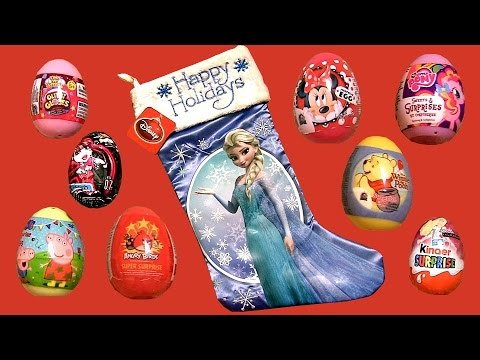 Christmas Stocking Huevos Sorpresa GlitziGlobes Barbie Kinder Surprise Peppa Disney Frozen Elsa