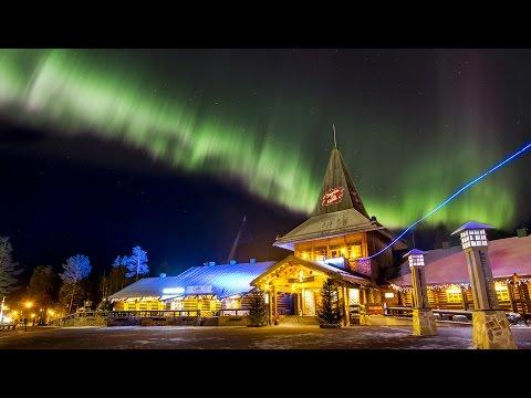Northern lights in Santa Claus' hometown Rovaniemi in Lapland, Finland - aurora borealis