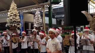 Optreden schoolorkest College Den Hulster bij Tuincentrum Leurs dec 2013
