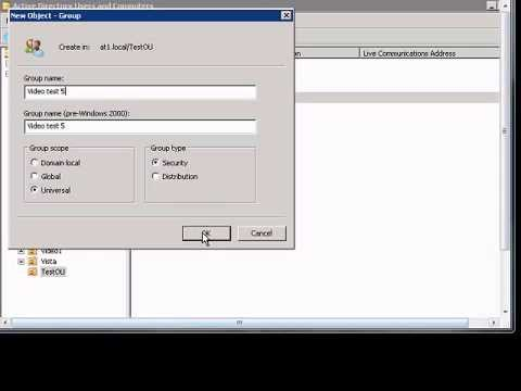 Create universal group in Windows 2008 Active Directory.wmv
