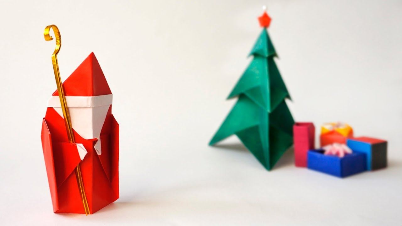 Origami saint nicholas santa pap noel youtube for Make origami santa claus