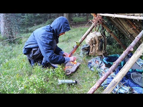 Overnight Bushcraft Shelter in the Forest